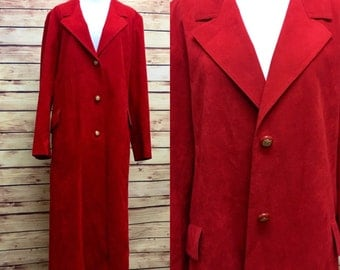 Red Suede Abe Schrader Coat Jacket Duster Large 70s