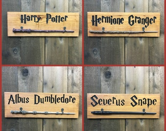 Magic Wand Holder - Harry Potter Hermione Granger Albus Dumbledore Severus Snape Character Custom Olivanders Carved Cedar Wood Plaque Hanger