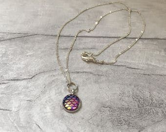 Mermaid necklace available in lilac or blue scales, festival necklace, mermaid jewellery set, lilac pink necklace ,dragon egg necklace uk