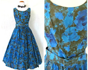 Vintage '50s Party Dress Bubble Skirt Homecoming Prom Satiny Silky Black and Blue Floral with Matching Belt Size 6 7 8