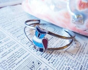 Southwest Zuni Silver Gemstone Owl Bracelet