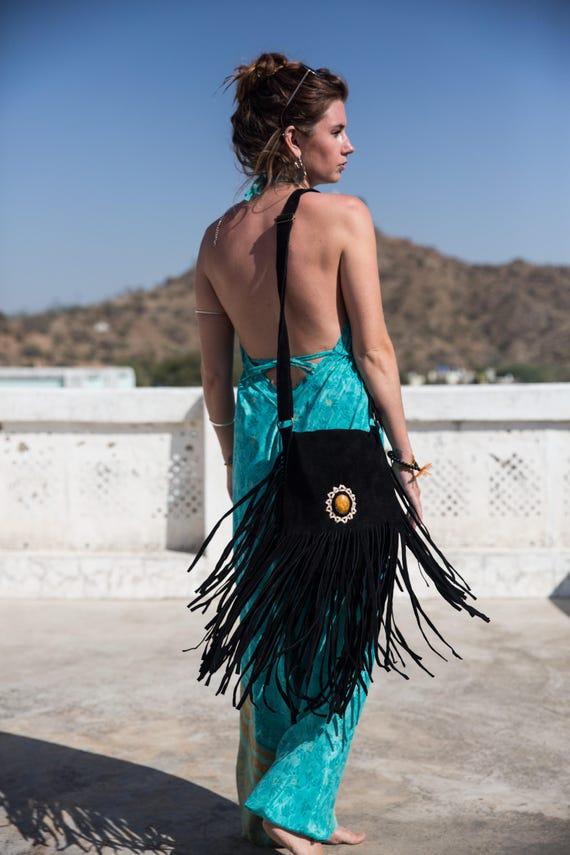 SUEDE FRINGE BAG- Fringe Shoulder bag- Suede Bag- Crystal Bag- Vintage Fringe Bag- Leather Tassel Bag- Bohemian- Festival bag- Must have!