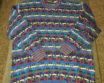 Vintage Neiman Marcus bright textured sweater size medium