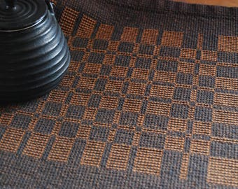 Handwoven Placemat- Charcoal and Amber