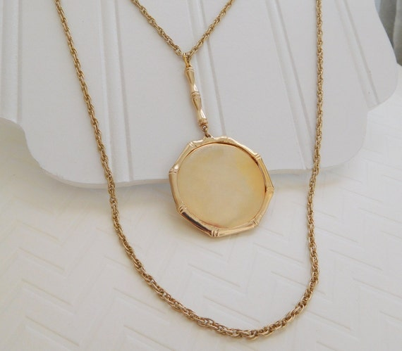 Vintage Gold Bamboo Photo Perfume Locket Pendant Layered Chain Necklace YY31