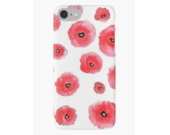 Red Poppies Art iPhone Case iPhone 4 5s 5c 6 6s 7 Plus Cover Hard Case Unique Stylish Painting Design Watercolor iPhone Case Red Flowers