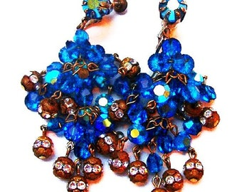 Chandelier Dangle Earrings Blue Crystal Beads Rose Montees Rhinestones Screw Backs 2.5' Vintage