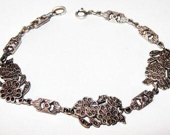 """Sterling Silver Marcasite Link Bracelet Signed 925 Flower Design Art Deco 8"""" Vintage"""