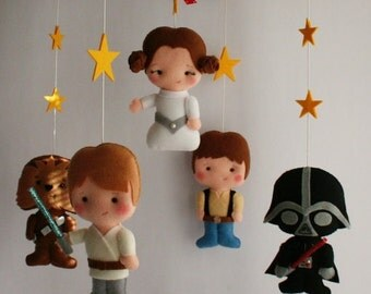 Baby Felt Mobile, Star Wars Mobile BB Hanging Princess Leia Han Solo R2D2 C-3PO Luke Skywalker Chewbacca C3PO EOS Baby Shower Favor Dolls 7