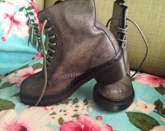 Dr Martens Mary Poppins style military laces combat heel sylver suede leather boots