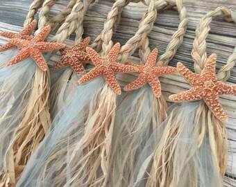 Beach Starfish Pew Bows, Starfish Wedding Pew Bows, Starfish Chair Hanger, Starfish Wedding Chair Hanger, Starfish Isle Runner, isle decor