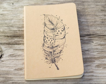 Mini Feather Native Boho Journal Notebook