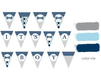 Bow Tie Baby Shower Banner Boys Party Printable It's A Boy Banner Navy and Grey Party Decorations Print Your Own Little Man Bunting (BBB4A1)
