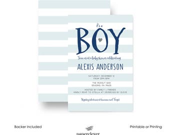 Snappy Stripe Baby Shower Invitation -- Navy & Grey -- Fun Oh Boy Invites -- Modish -- Baby Boys Sprinkle -- Printable or Printing Customize