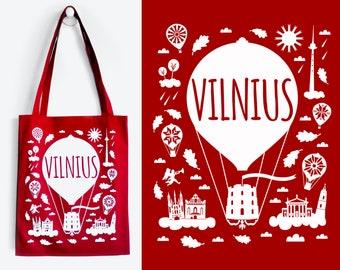 VILNIUS Red Tote Bag
