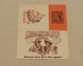 Vintage 1960s Falstaff ephemera  - Missouri Angler Awards Card  - Falstaff Brewing Corporation, St. Louis Missouri, Hippie, Boho, 1960s
