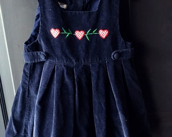 Vintage heart corduroy jumper pinafore dress 2t Valentine's Day