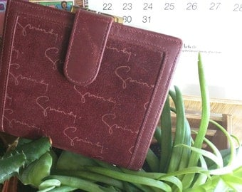 AUTHENTIC and RARE GIVENCHY 80s Burgandy Suede Bi-Fold Wallet with Gold Clasp 'Made in Spain'