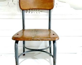 Vintage Child Chair Wood Metal Desk