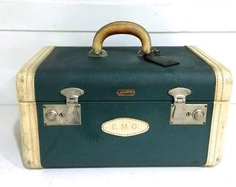 Vintage Hartmann Train Case Green with Leather Handle