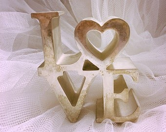 Vintage Silverplate LOVE sign, Love sign paperweight, Valentine's decor,  Love sign, wedding decor