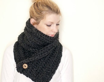 FLASH SALE the OXFORD - Ribbed chunky crochet scarf cowl - slate