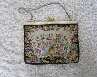 Black Floral Tapestry Small Bag