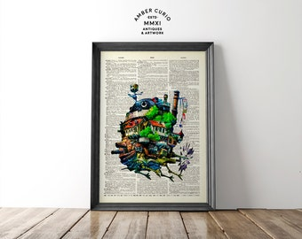 Studio Ghibli Inspired Howl's Moving Castle Anime Film Digital Art Printon an Anituqe Up-Cycled Book Page Unframed