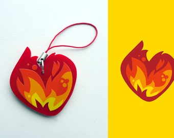 Acrylic Fire, Burning, Flaming, Red Hot, Love Heart Charm Keychain with Phone Strap