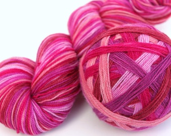 "Self Striping Sock Yarn, Superwash Merino, Nylon and Stellina Fingering Weight, in ""Viva Valentine"""