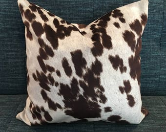 Brown and White Cow Hide Pillow Covers / 18 x 18/ In Stock