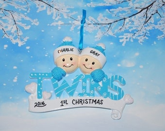 Personalized Twin Boys Christmas Ornament