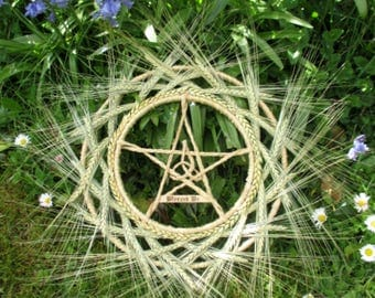 OOAK Handmade Pagan Lammas  Wheel. Natural Wheat & Barley Pentacle Wreath. Handfasting Gift.