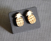 Pineapple Stud Earrings : Wood Engraved Fruit