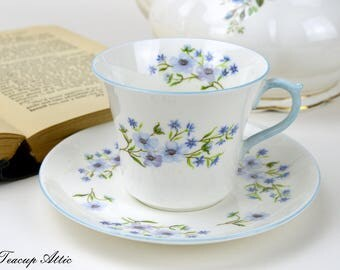 Shelley Blue Rock Flat Teacup And Saucer Set, English Bone China Tea Cup Set, ca. 1945-1966
