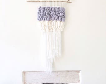 Wall hanging, white and grey, woven wall hanging, wool