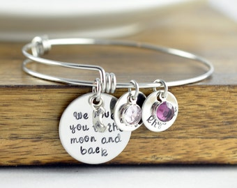 Personalized I love you to the moon and back, Gifts for Grandma, Grandma Bracelet, Grandmother Bracelet, Birthstones Bangle, Mothers Gift