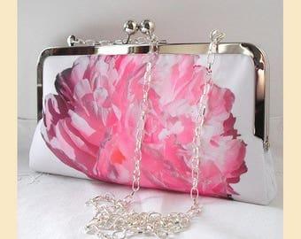 Clutch bag, shoulder bag, pink floral, wedding clutch, white, handmade bridal purse, shoulder chain, pink peony