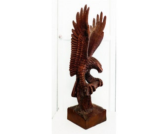 Large American Eagle Sculpture Hand Carved Signed Dated