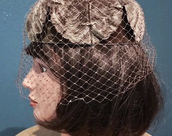Vintage Taupe Velvet Pillbox with Net Face Veil