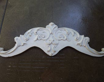 Antique White Architectural Swan-Necked Pediment, Industrial DecorArt Nouveau, Architectural Accent Piece,  Circa 1906