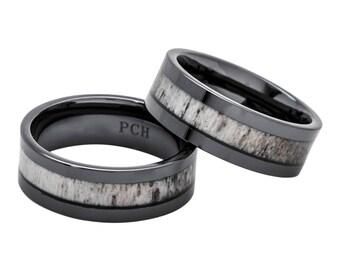 Deer Antler Ring in Black Ceramic 8mm Comfort Fit Wedding Band