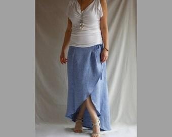Wrap Linen Maxi Skirt Asymmteric Long Skirt Loose Linen Skirt Pencil Skirt A Line Skirt Bohemian Skirt Boho Maxi Plus Size Maxi  Blue