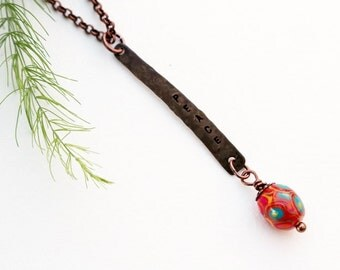 Peace Necklace, Stamped Necklace, Pendant Necklace, Stamped Jewelry, Orange Bead Necklace, Short Necklace, Bohemian Necklace