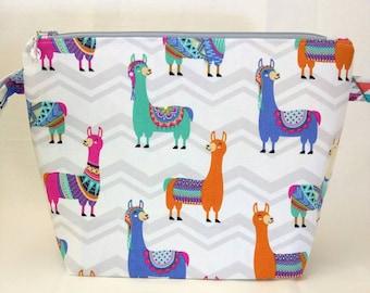 Medium Wide-Mouth Wedge Bag - Angie's Zigzag Llamas