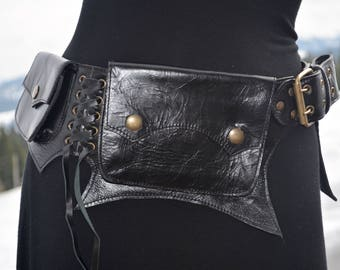 Black leather cypress pocket belt/ utility belt/ fanny pack/hip belt