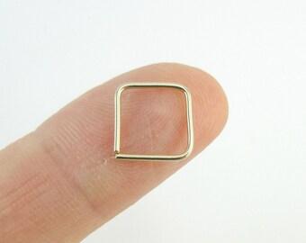 Square Cartilage Hoop Earring, 14K Gold Filled, Mini Square Hoop, Helix Earring, Ear Hugging Hoop, Rook Hoop, Daith Piercing, Tragus Hoop
