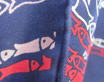Echo Fish Scarf is Vintage Silk 27 Inches Square Dark Blue Red Pale Yellow Pinkish Tan Rows of Fish Stylish Fashionable Free Ship USA