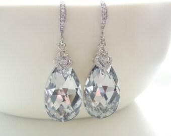 Crystal Earrings Clear Earrings Swarovski Crystal Earrings Bridesmaid gifts Wedding jewelry Bridal Earrings Bride Earrings