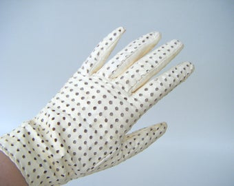 Vintage White Leather Driving Gloves 1980s Fashion Style Golf Retro Summer